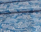 Vintage Japanese Kimono Fabric - Blue and White Stencilled Design