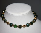 Trifari Necklace Green Crystal Baroque Glass Pearls Gold Bead Vintage 1950