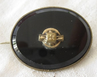 Vintage Black Onyx or Glass Gold & Gold Metal Costume Jewelry Brooch and Pendant