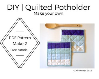 Kitchen Potholder Pattern | PDF Pattern and Tutorial | DIY Home Decor | DIY Project | Sewing For Beginners | Retro Kitchen | Hostess Gift