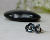 Abstract Flowers Sterling Silver Posts Sculptural Silver Earrings Studs