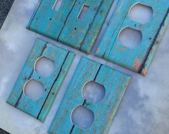Distressed Turquoise wood Switchplate Outlet Double Triple Quad Rocker Blank Cable Dimmer