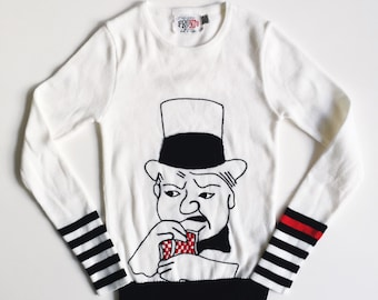 Vintage 70's Acrylic Pullover Novelty Sweater w/ W.C.Fields Face Portrait in Raised Embroidery Black, White & Red by Pronto | XS/Small