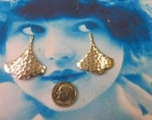 Sterling Silver Ox Plated Brass Hammered Ginkgo Leaf Drops 442SOX x2