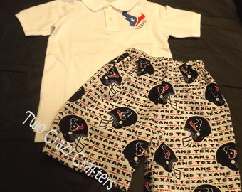 Houston Texans Inspired Boys Shirt and Shorts Outfit, Toddler, Baby, Boy, Sport, NFL, Football, Team Spirit