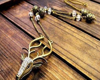 Rhinestone Stag, Western Cowgirl Southwestern Boho Rhinestone & Crystal Deer Necklace- Stag Necklace- Deer Necklace- Boho Necklace- Deer