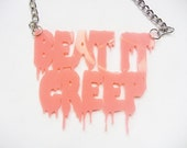 Beat it Creep Pink Necklace torture couture crybaby cry baby drape drapes traci lord john waters greaser bad girl leather jacket