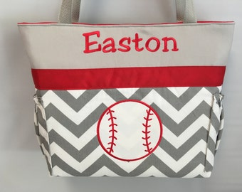 BASEBALL ... Gray  CHEVRON ... ToTE ...   Diaper Bag  ...  Personalized FREE