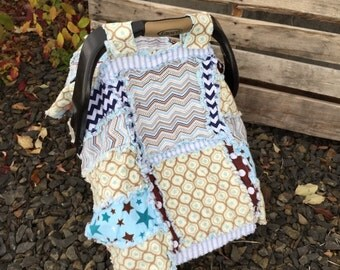 CAR SEAT Canopy and Blanket in Blue and Brown Polka Dot and Star Flannel Fabrics for Baby Boy - Can Also Be Used for Mini Crib eady to Ship