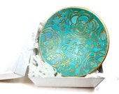 Listing for Whitney: Turquoise Wedding Ring Dish- Handmade Ring Dish- polymer clay Bowl- Personalized Ring Holder- Engagement Ring Dish