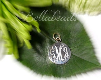 1 Inch Round Engraved Sterling Silver Charm