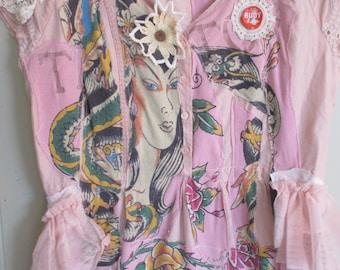pink passion fruit  Vintage Linens Dress -   Collage Clothing - Eclectic Artisan Wearable Folk Art + myBonny