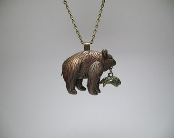 Bear Necklace - Fish Necklace - Polymer Clay Jewelry