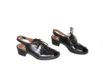 90s ALDO platform sandals 1990s vintage black leather lace up fisherman slingback sandals size 7