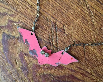 Vintage Reclaimed Upcycled Tin Bat Necklace on Sterling Silver Chain, Gifts under 30, Gifts for Her, Vintage Halloween Jewelry, Bat Lover