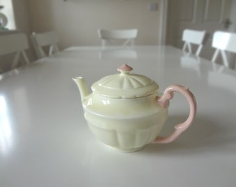 Vintage Teapot Crown Staffordshire Bone China Porcelain Art Deco Pink Yellow Circa 1920  - EnglishPreserves