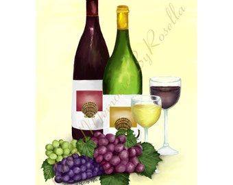INSTANT DOWNLOAD 4.5 x 6 Digital Print Bottle of Red, Bottle of White.... Wine With Wine Glasses and Grapes