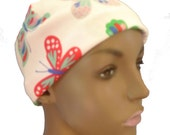 Ladies White Butterfly Soft Cotton Sleep Cap Cancer Chemo Scarf Liner Hat