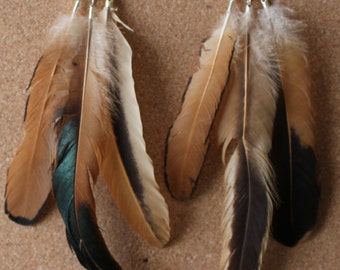 FEATHER Earrings -- Bird, Native American, Southwest - Style 41 - Triple Feather