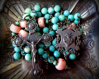 Bronze and Gemstone Sacred Heart Rosary