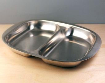 Scandinavian modern WMF Cultura Sweden stainless steel serving divided dish.