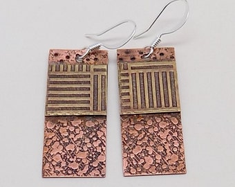 Mixed metal steampunk jewelry brass earrings