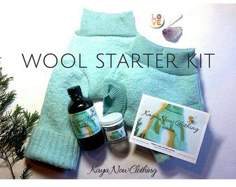 Custom Wool Starter Kit / Cloth Diapering with Wool / Upcycled Wool Soaker Diaper Cover / Matching Longies Shorties & Lanolin Wool Wash