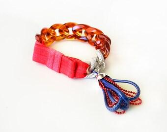Funky Chunky Chain Bracelet - acrylic chain, aluminum chain, elastic ribbon bow, tiny handmade tassel - tortoise shell, rose, navy