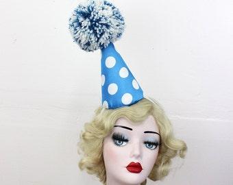 Turquoise Blue, White, Polka Dot Clown Hat, Halloween Costume, Birthday Party Hat, Surrealist Fashion, Circus Costume, Burlesque Headpiece
