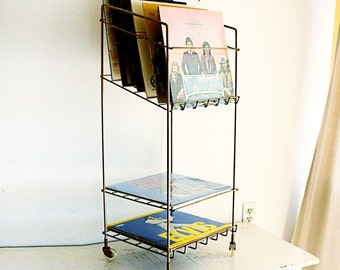 Vintage record player stand - metal stand - record rack - magazine rack - record player table - gold tone - metal record stand - with wheels