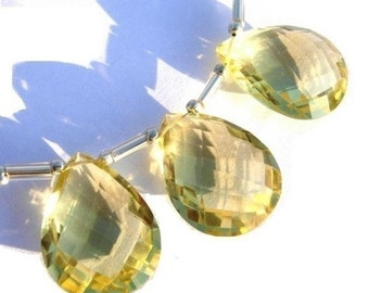 55% OFF SALE 20x15mm Trio of AAA Genuine Lemon Quartz faceted pear shaped briolettes matched pair and a focal pendant