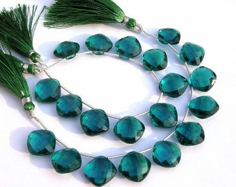 55% OFF SALE 1/2 Strand - AAA Teal Blue Quartz Faceted cushion Briolettes Calibrated Size 14x14mm 5 Pcs 2 Matched Pair n a Focal Pendant