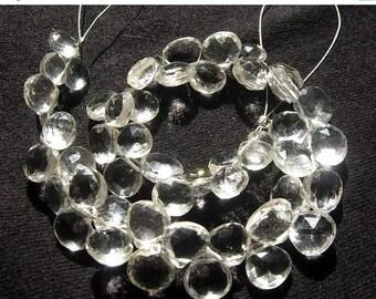 "55% OFF SALE 8"" Finest Quality Natural Rock Crystal Quartz Faceted Heart Briolettes Size 7 - 8mm Finest Quality Wholesale Price"
