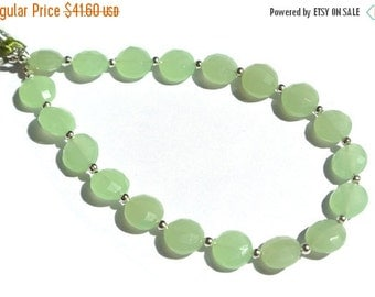 55% OFF SALE 8 Inches Super Finest AAA Apple Green Chalcedony Faceted Coin Briolettes Size 8x8mm approx