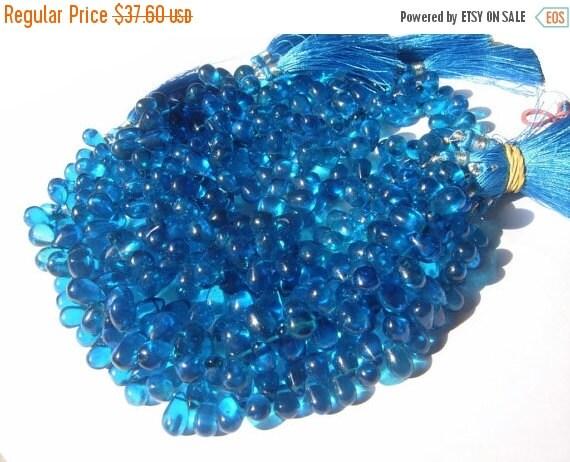 55% OFF SALE 1/2 Strand - Exteremly Beautiful Neon Blue Mystic Quartz Smooth Polished Tear Drop Briolettes 8x6 - 9x7mm approx