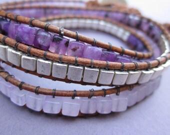 triple wrap purple quartz stone and square metal bead concho button leather bracelet