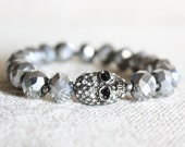 Silver Swarovski Crystal Skull Glam Stretch Bracelet