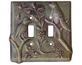 Birds Ceramic Double Toggle Light Switch Cover in Purple Mauve Glaze