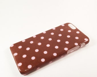 SALE!! Pink and Brown Polka Dot Phone Case - iPhone Case - Phone Back Cover