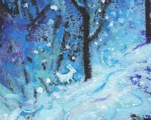 White Rabbit in Snow Forest Acrylic Painting _ Original by Karen Gillis Taylor
