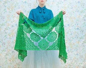 Crochet lace shawl, scarf, lace, green, alpaca, P498