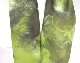 "Shibori Dyed Silk Infinity Scarf, in Lime and Olive Green, 9 x 60"", Shimmery Silk Habotai"