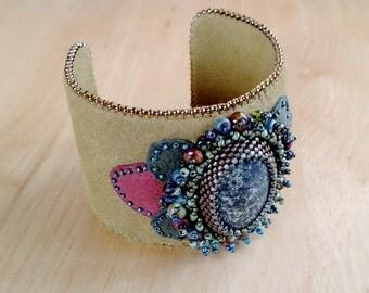Green Beaded Cuff, Serpentine Stone Bracelet, Vegan Leather Cuff, Beaded Jewelry