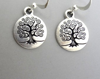Tree of Life Earrings, Dangle Earrings, Charm Earrings, Tree of Life Charm Earrings