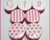 Pink Polka Dot Knobs • Stripe Drawer Knobs • Pink • White • Personalized • Dresser Knobs • Drawer Pulls •