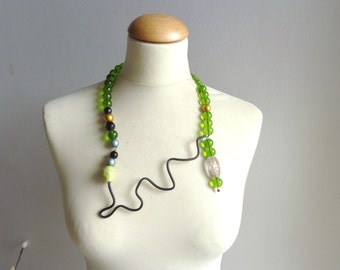 Black green long statement necklace jewelry