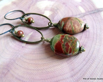 Red Creek* Organic Natural Stone Earrings Woodland Forest Jewelry Olive Sage Moss Green Brown Rust Long Earthy Gemstone Earrings