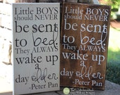Little Boys Should Never Be Sent to Bed. They Always Wake up a Day Older - Nursery Quote Saying - Wood Sign - Distressed Wooden Sign S135