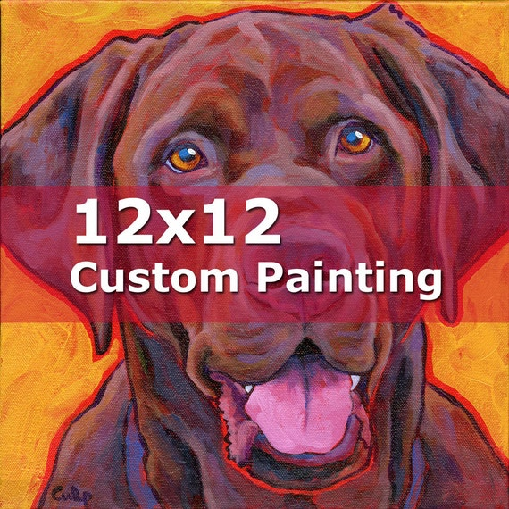 12x12 CUSTOM PAINTING Original Dog Portrait Art Painting by Lynn Culp