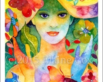 """Spring Welcome original watercolor painting 6"""" x 8"""" ElaineCoxArt"""